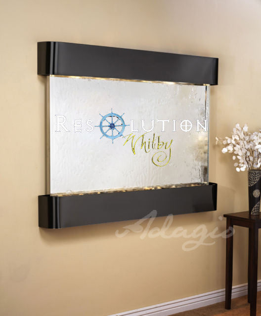 Teton Falls - Silver Mirror- Blackened Copper - Rounded Corners - Soothing Walls