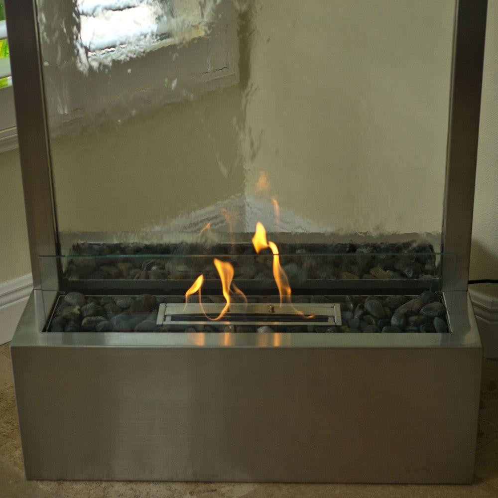 7.5' Stainless Gardenfall Fire Fountain - Soothing Walls