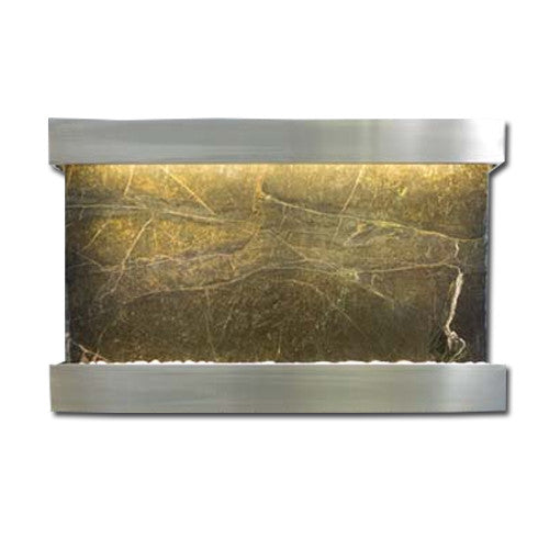 Large Horizon Falls Classic Quarry Wall Fountain - Rainforest Green Marble/Brushed Stainless Steel - Soothing Walls