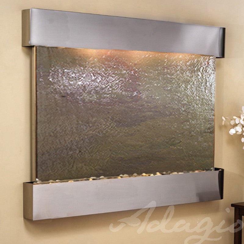 Teton Falls: Multi-Color FeatherStone and Stainless Steel Trim with Squared Corners