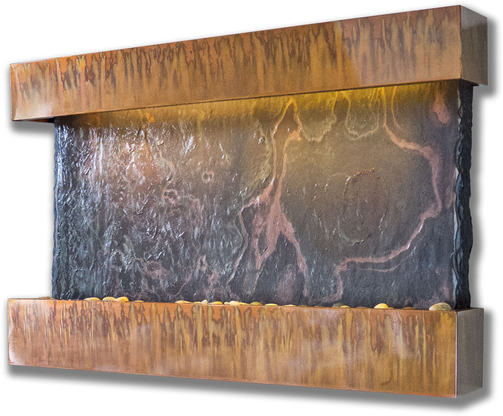Medium Horizon Falls Wall Fountain with Copper Patina Trim - Soothing Walls