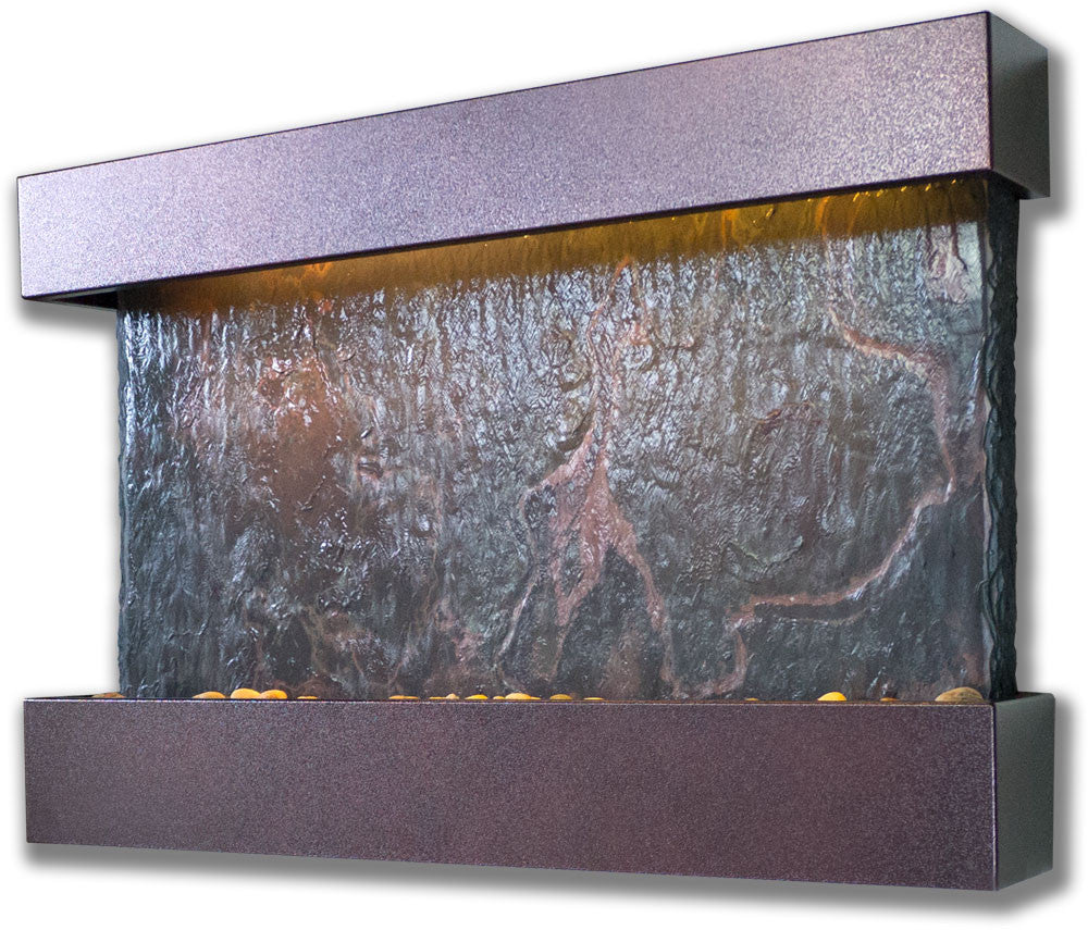 Medium Horizon Falls Wall Fountain with Copper Vein Trim - Soothing Walls