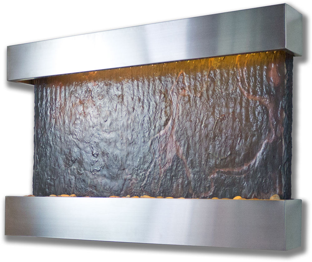 Medium Horizon Falls Wall Fountain with Stainless Steel Trim - Soothing Walls