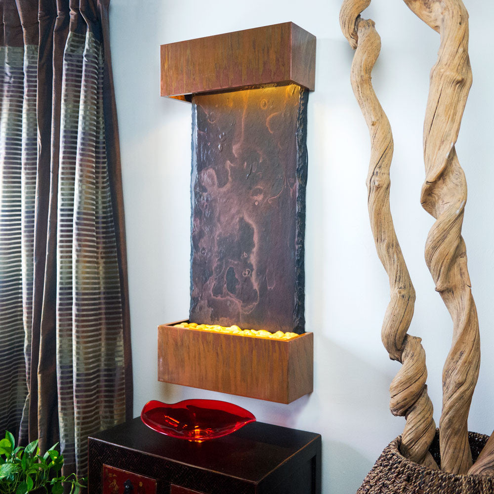 Nojoqui Falls Medium Wall Fountain with Copper Patina Trim - Soothing Walls