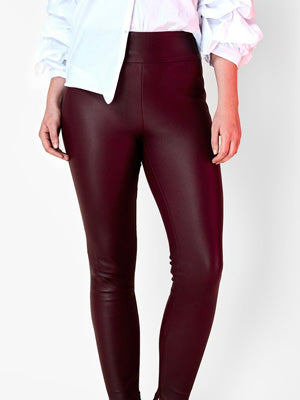 OT BURGUNDY LEATHER LEGGINGS