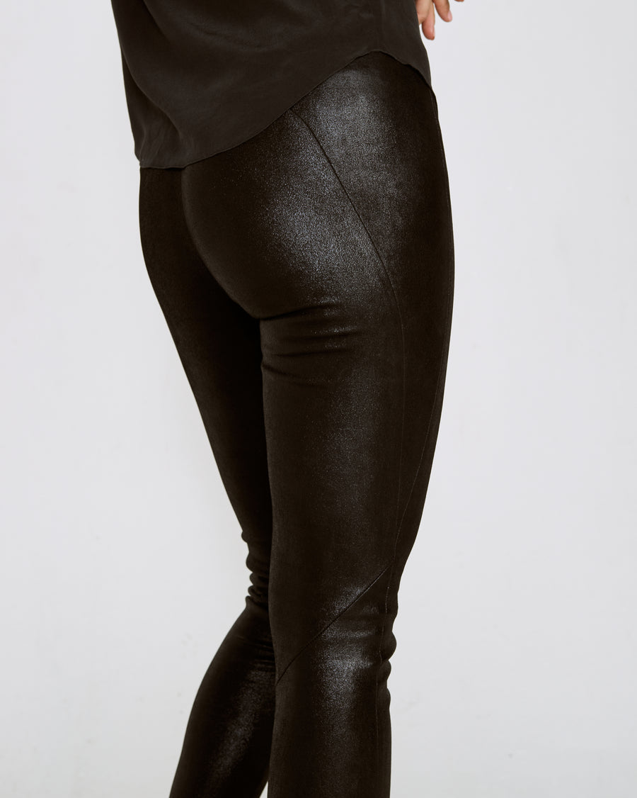 OT LEGGINGS SHINY BLACK SUEDE