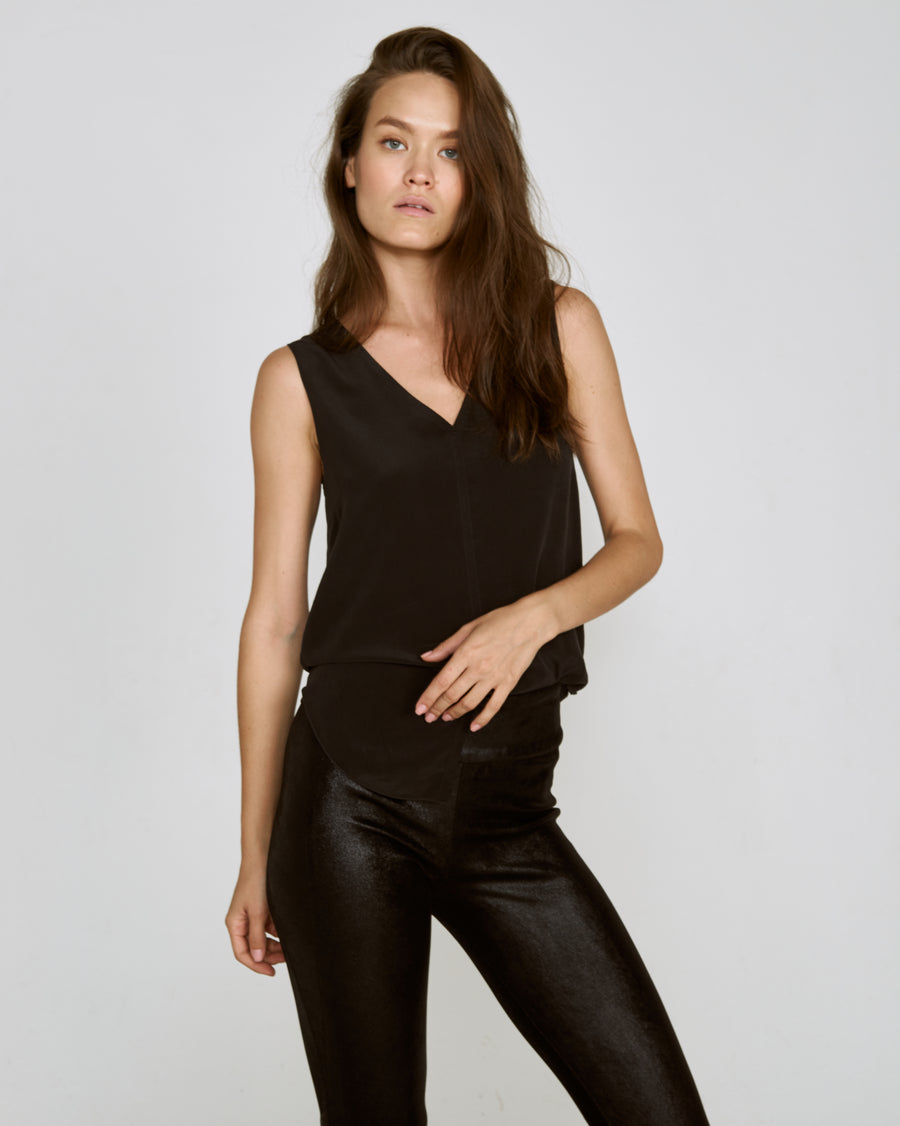 OT LEGGINGS SHINY BLACK SUEDE - LIMITED