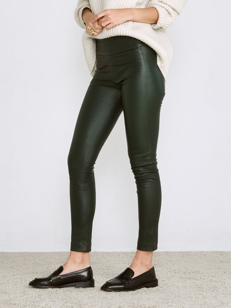 OT LEGGINGS EMERALD GREEN LEATHER - LAST UNITS