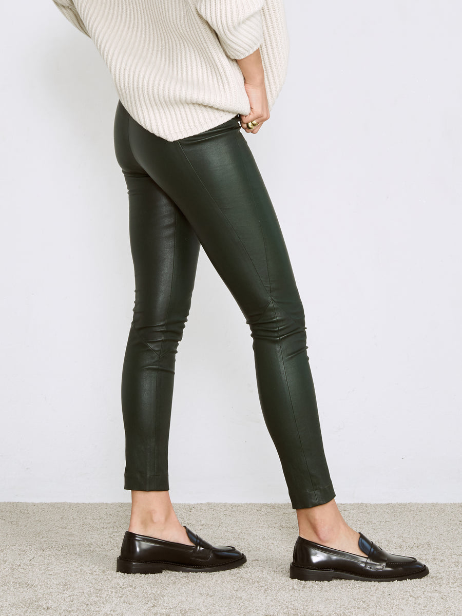 OT LEGGINGS EMERALD GREEN LEATHER - LIMITED