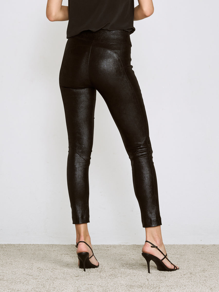 OT LEGGINGS SHINY BLACK SUEDE - LIMITED SERIES