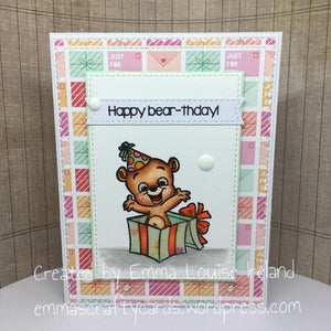 Guest Designer Emma Louise Ireland with a Happy Bear-thday card!