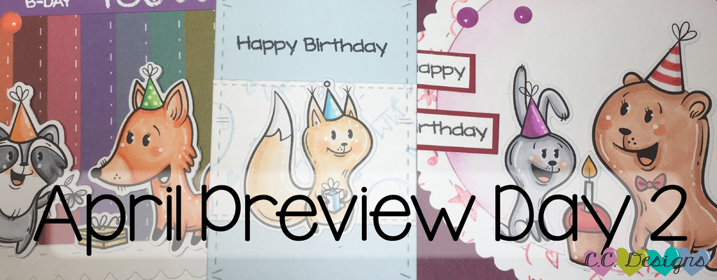April Preview Day 2: Forest Creatures Birthday Stamps and Birthday Background Stamp