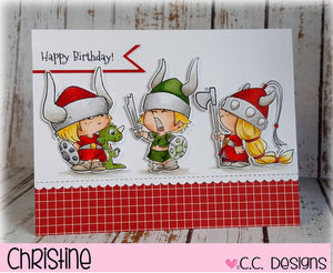 C.C. Designs Rubber Stamps:Viking Kids Clear Stamp Set