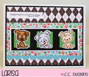 C.C. Designs Rubber Stamps:Puppy Power Clear Stamp Set