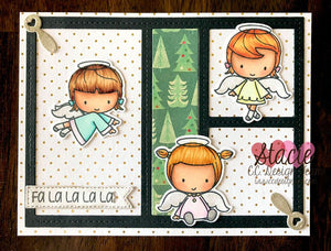 C.C. Designs Rubber Stamps:Fa La La La Angels Clear Stamp Set