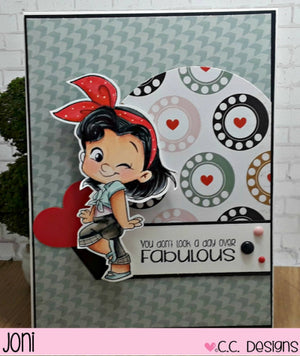 C.C. Designs Rubber Stamps:Rockabilly Gals Clear Stamp Set