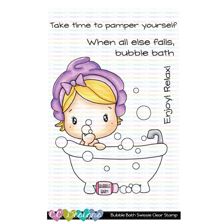 Bubble Bath Swissie Clear Stamp Set