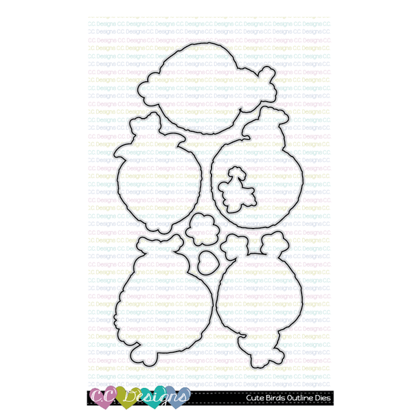 !New Cute Birds Outline Metal Die