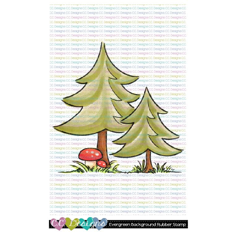 **Evergreen Background Rubber Stamp