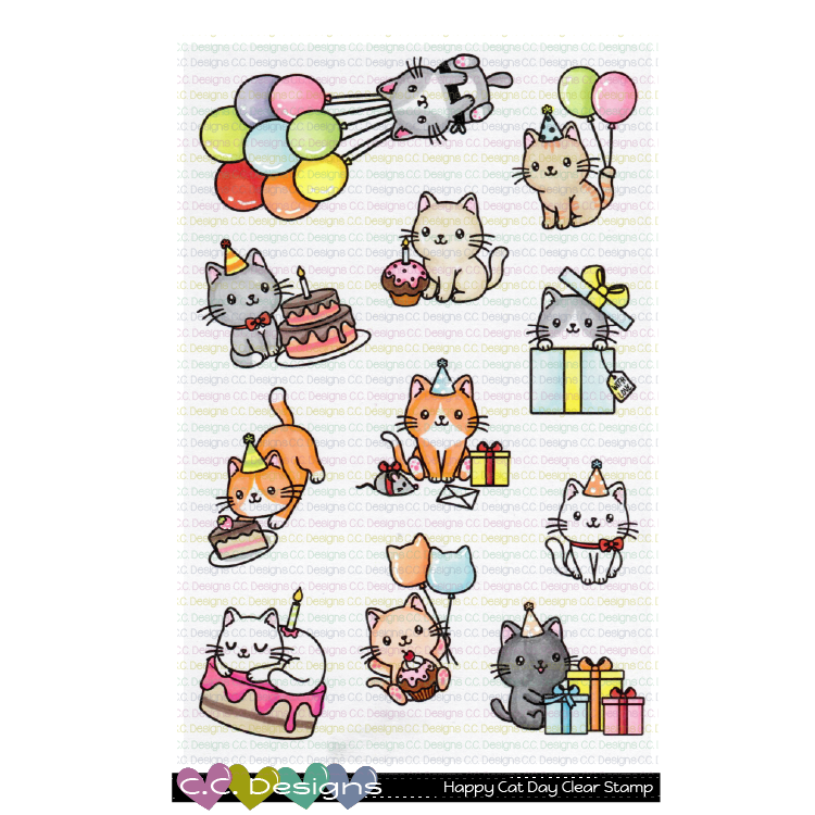 !New Happy Cat Day Clear Stamp Set