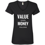 Value Leads Money Follows Women's V-Neck Tee