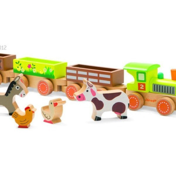 Wooden Barnyard Baby Train - French Carousel