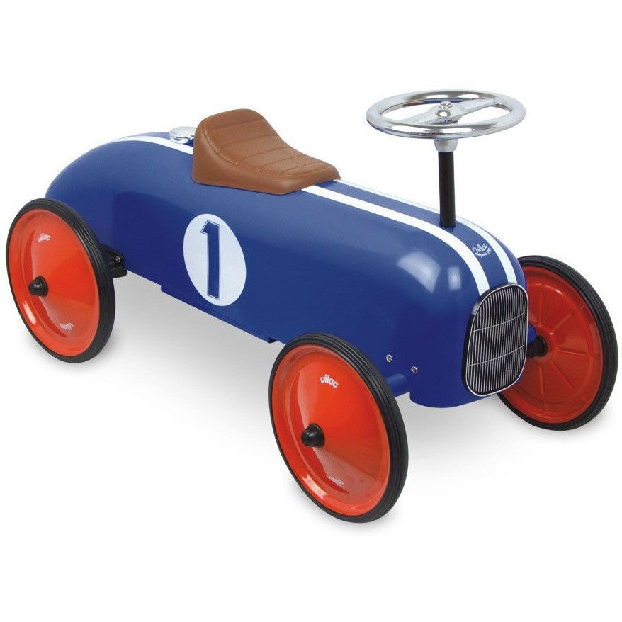 Royal Blue Ride On Vintage Racing Car - French Carousel