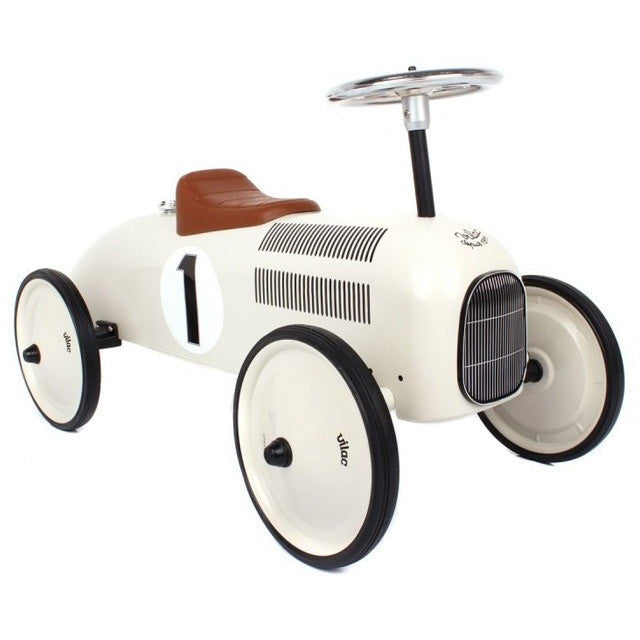 White Ride On Vintage Racing Car - French Carousel