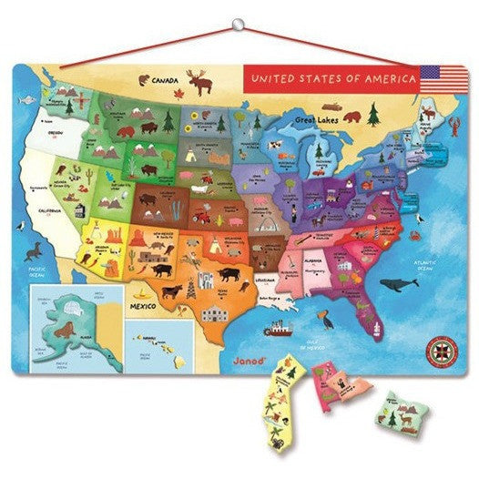 Puzzle Map Of The United States.United States Of America Magnetic Puzzle Map French Carousel