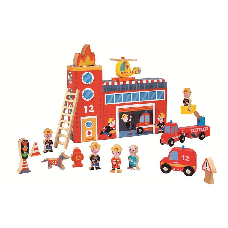 Wooden Fire Station Story Box Set - French Carousel
