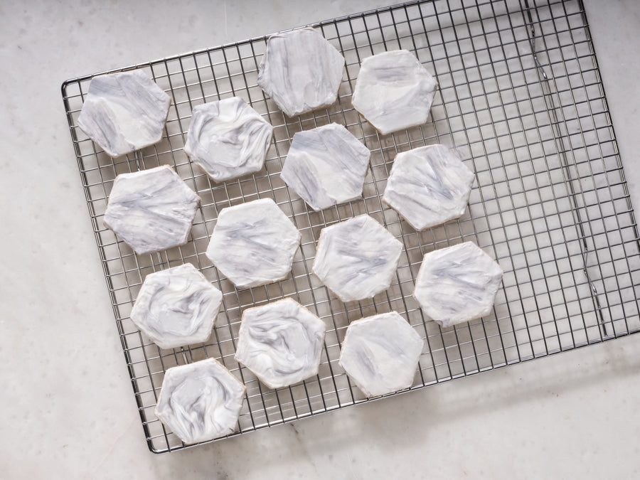 Marble Hexagon Shortbread Cookie Kit