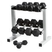 Rubber Hex Dumbbell Weight Set with Rack, 5-25 lb CAP 150 lb**Free Shipping ***