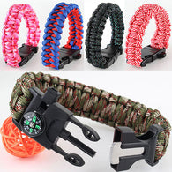 Survival Parachute Cord Bracelet with Scraper, Whistle, Flint Fire Starter Gear Kits, with New Colors 9.8 in or 25cm**pay for shipping
