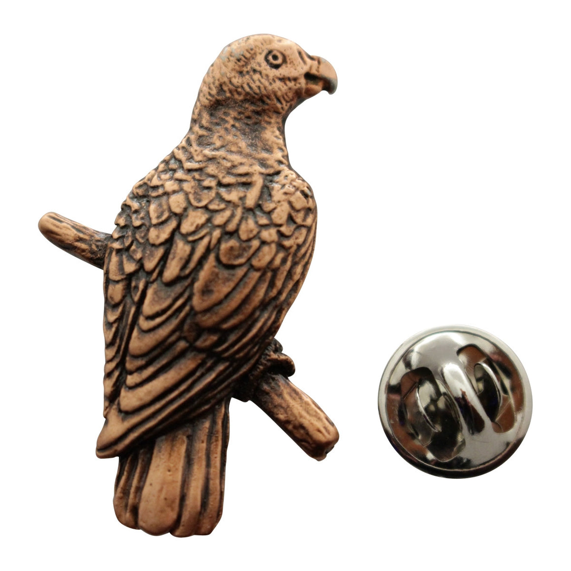 African Grey Pin ~ Antiqued Copper ~ Lapel Pin ~ Antiqued Copper Lapel Pin ~ Sarah's Treats & Treasures
