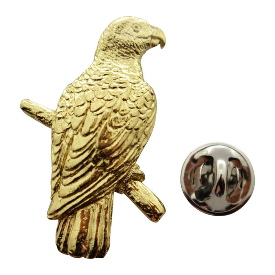 African Grey Pin ~ 24K Gold ~ Lapel Pin ~ 24K Gold Lapel Pin ~ Sarah's Treats & Treasures