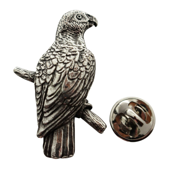 African Grey Pin ~ Antiqued Pewter ~ Lapel Pin ~ Sarah's Treats & Treasures