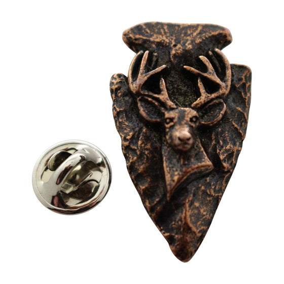 Arrowhead with Buck Pin ~ Antiqued Copper ~ Lapel Pin ~ Antiqued Copper Lapel Pin ~ Sarah's Treats & Treasures