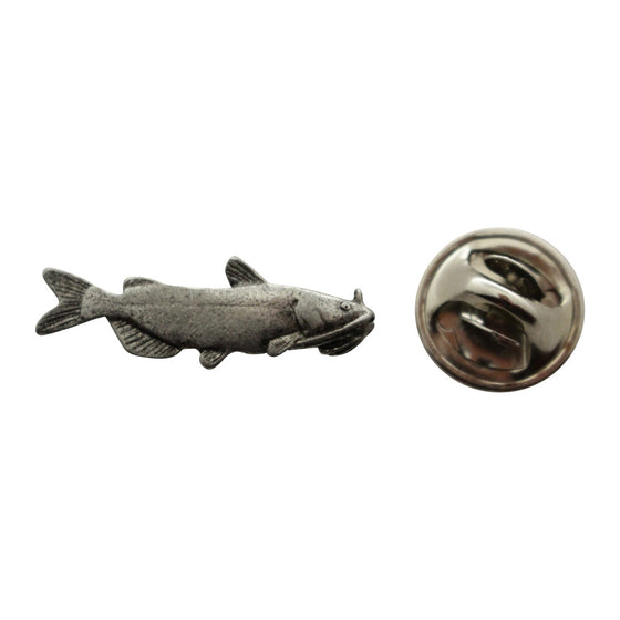 Catfish Mini Pin ~ Antiqued Pewter ~ Miniature Lapel Pin ~ Sarah's Treats & Treasures