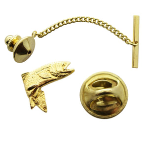 Jumping Trout Tie Tack ~ 24K Gold ~ Tie Tack or Pin ~ 24K Gold Tie Tack or Pin ~ Sarah's Treats & Treasures