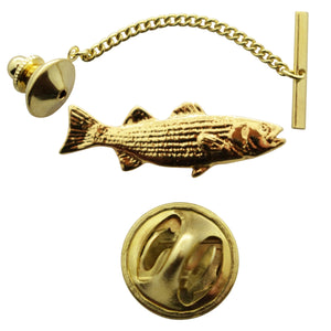 Striped Bass Tie Tack ~ 24K Gold ~ Tie Tack or Pin ~ 24K Gold Tie Tack or Pin ~ Sarah's Treats & Treasures