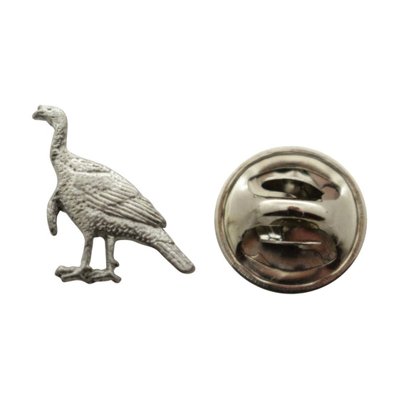 Alert Turkey Mini Pin ~ Antiqued Pewter ~ Miniature Lapel Pin ~ Sarah's Treats & Treasures