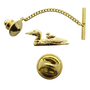 Loon With Chick Tie Tack ~ 24K Gold ~ Tie Tack or Pin ~ 24K Gold Tie Tack or Pin ~ Sarah's Treats & Treasures