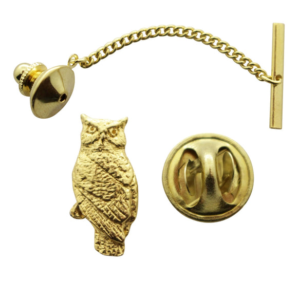 Owl Tie Tack ~ 24K Gold ~ Tie Tack or Pin ~ 24K Gold Tie Tack or Pin ~ Sarah's Treats & Treasures