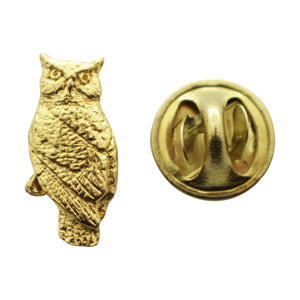 Owl Mini Pin ~ 24K Gold ~ Miniature Lapel Pin ~ Sarah's Treats & Treasures