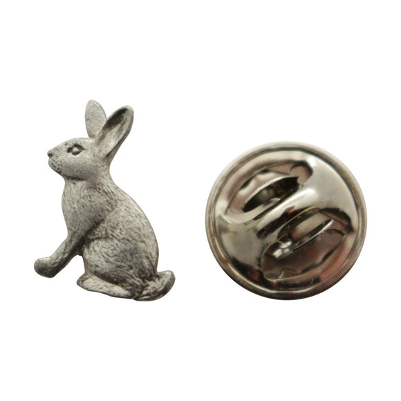 Rabbit Mini Pin ~ Antiqued Pewter ~ Miniature Lapel Pin ~ Sarah's Treats & Treasures