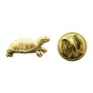 Box Turtle Mini Pin ~ 24K Gold ~ Miniature Lapel Pin ~ Sarah's Treats & Treasures