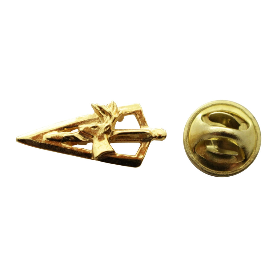 Broadhead With Deer Mini Pin ~ 24K Gold ~ Miniature Lapel Pin ~ Sarah's Treats & Treasures