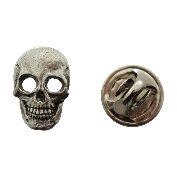 Skull Mini Pin ~ Antiqued Pewter ~ Miniature Lapel Pin ~ Sarah's Treats & Treasures
