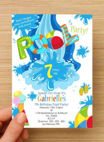 #NEW Swimming Beach Pool Party Invitation #2 -- PERSONALISED --