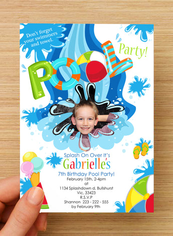 #NEW Swimming Beach Pool Party Invitation #2 -- PERSONALISED -- with photo